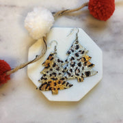 Christmas Tree Leather Leopard print Earrings - The Salty Mare