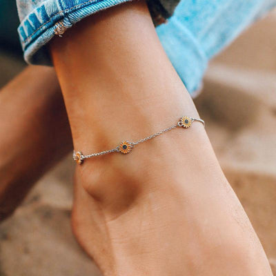 Enamel Sunflower Anklet - The Salty Mare