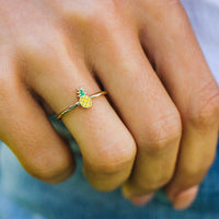Pineapple Enamel Ring - The Salty Mare
