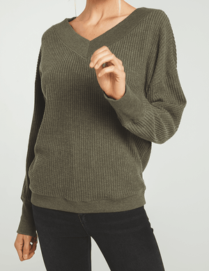 Emilia Waffle Thermal Top - The Salty Mare
