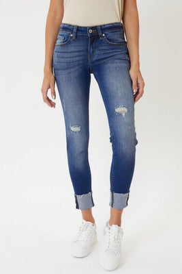 Dark Wash Cuffed Hem Ankle Skinny