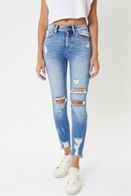 Medium Wash Destroyed Ankle Skinny