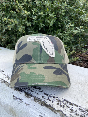Classic Distressed Camo Florida Hat - The Salty Mare