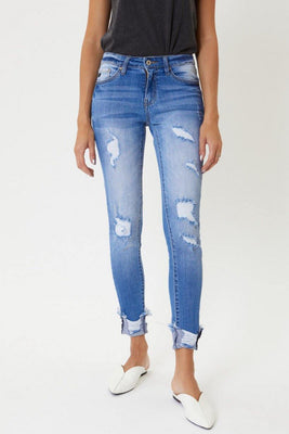 Medium Wash Distressed Ankle Skinny - The Salty Mare