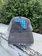 Aqua Gingham Plaid Patch Florida Hat