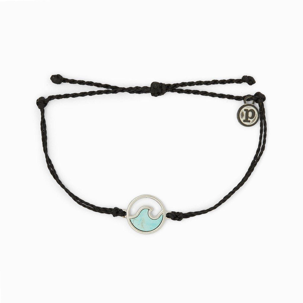 Silver Stone Wave Bracelet Black - The Salty Mare