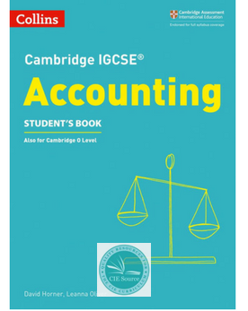 9780008254117, Cambridge IGCSE® Accounting Student's Book paperback (New 2018) - CIE SOURCE