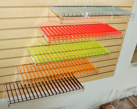 Colored Slatwall shelf for E-Juice/E-Liquid bottles