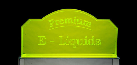 CUSTOM Eye Catching Fluorescent E-Liquid/E-Juice/ Oils Sign (insert your logo!)