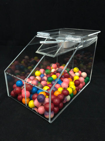 Slanted Lid Double Candy Bin (For Slatwall)
