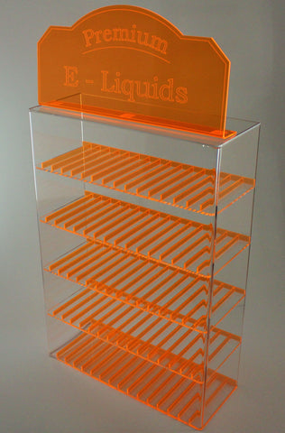E-Juice/E-Liquid/ Lotions/ Oils Display with fluorescent dividers and matching sign! Orange