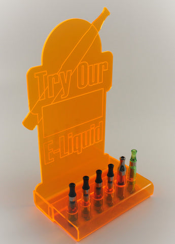 Try-it display for testing (fluorescent with sign)