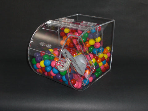"Round Faced Candy Bin with False Front - 9"" W"