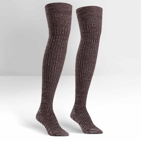 Sock It To Me Women's Over the Knee Socks - Brown Mixed Rib