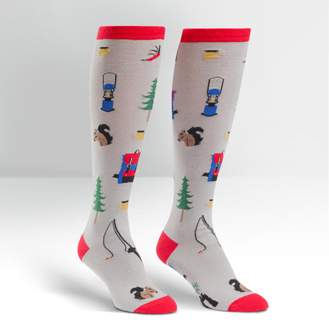Sock It To Me Women's Funky Knee High Socks - Happy Camper