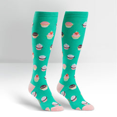 Sock It To Me Women's Funky Knee High Socks - Let Them Eat Cupcakes