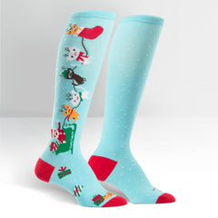 Sock It To Me Women's Funky Knee High Socks - Jingle Cats