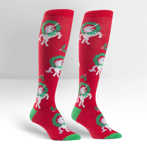 Sock It To Me Women's Funky Knee High Socks - Horn for the Holidays