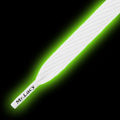 Mr Lacy Flatties - Glow In The Dark Shoelaces - White to Green