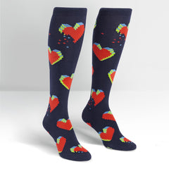 Sock It To Me Women's Funky Knee High Socks - Pixelated Hearts