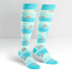 Sock It To Me Women's Funky Knee High Socks - Unicorn of the Sea