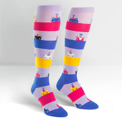 Sock It To Me Women's Funky Knee High Socks - Happy Purrday