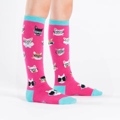 Sock It To Me Kids Knee High Socks - Smarty Cats (7-10 Years Old)