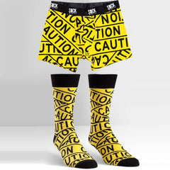 Sock It To Me Men's Underwear and Sock Pack - Caution Tape - Large