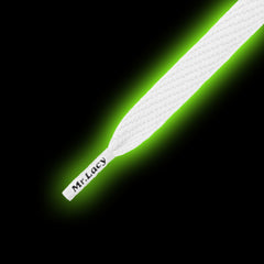 Mr Lacy Flatties Jr - Glow In The Dark Shoelaces - White to Green