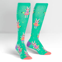 Sock It To Me Women's Knee High Socks - Hula Hoopin' Bunnies