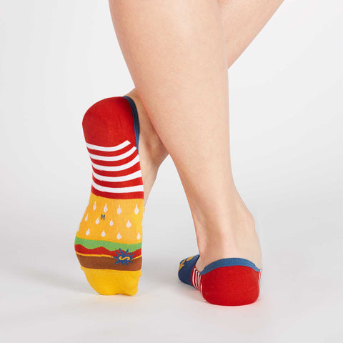 Sock It To Me Women's No Show Socks - Burger and Fries