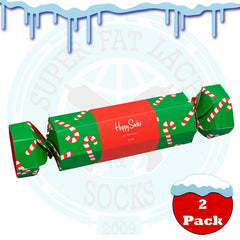 Happy Socks Women's Candy Cane Cracker Gift Box - 2 Pack