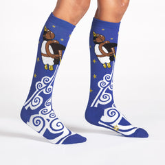 Sock It To Me Kids Knee High Socks - Penguin Taking Flight (7-10 Years Old)