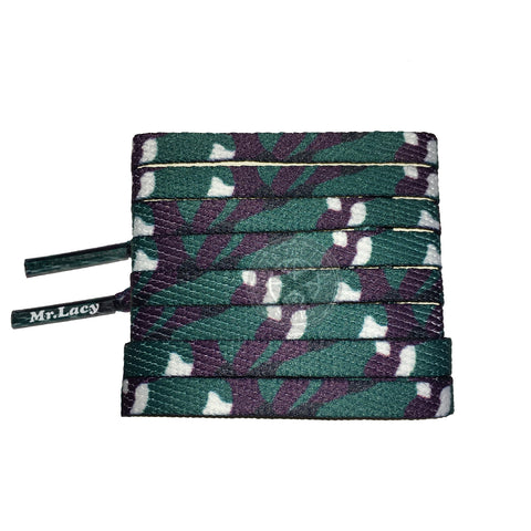 Mr Lacy Smallies Printed - Green Camo Shoelaces