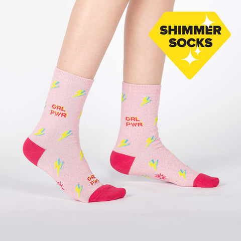 Sock It To Me Kids Crew Socks - United We Shine (Shimmer)-(7-10 Years Old)