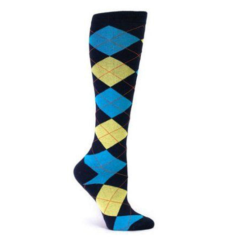 Sock It To Me Women's Knee High Socks - Argyle Turquoise & Yellow