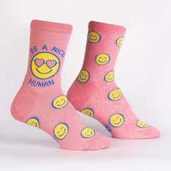 Sock It To Me Women's Crew Socks - Be a Nice Human (Shimmer!)
