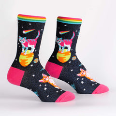 Sock It To Me Women's Crew Socks - Space Cats (Shimmer!)