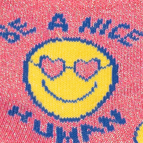 Sock It To Me Kids Crew Socks - Be a Nice Human (Shimmer!)-(7-10 Year Olds)