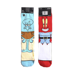 Odd Sox Men's Crew Socks - Squidward & Mr Krab (Spongebob Squarepants)