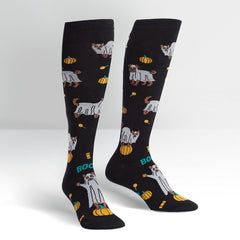 Sock It To Me Women's Knee High Socks - Trick or Treat? (Glow in the Dark)