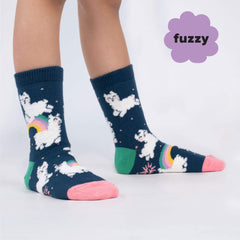 Sock It To Me Kids Crew Socks - Llam-where Over the Rainbow (Fuzzy)-(7-10 Years Old)