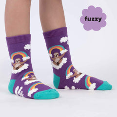 Sock It To Me Kids Crew Socks - Sloth Dreams (Fuzzy)-(7-10 Years Old)