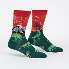 Sock It To Me Men's Crew Socks - Dinosaur Days (Glow in the Dark)