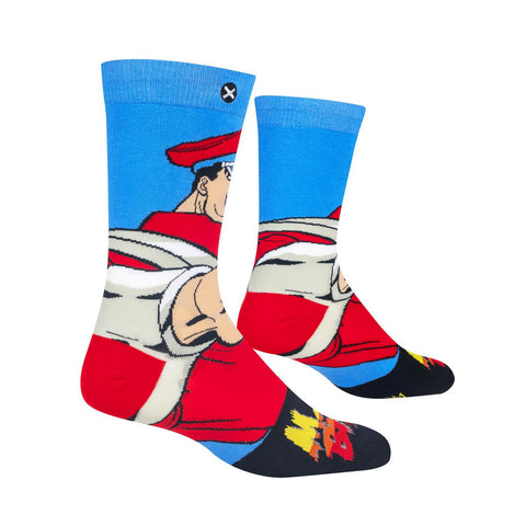 Odd Sox Men's Crew Socks - M Bison (Street Fighter II)