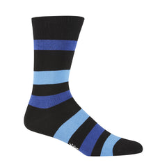 Sock It To Me Men's Crew Socks - Black & Blue Stripe