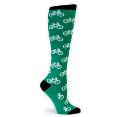 Sock It To Me Women's Funky Knee High Socks -  Bikes Green