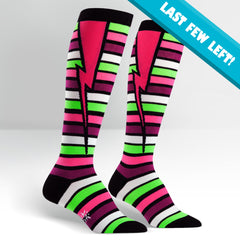 Sock It To Me Women's Funky Knee High Socks - Stripe Bolt