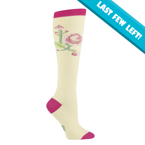 Sock It To Me Women's Funky Knee High Socks - Stitched Rose