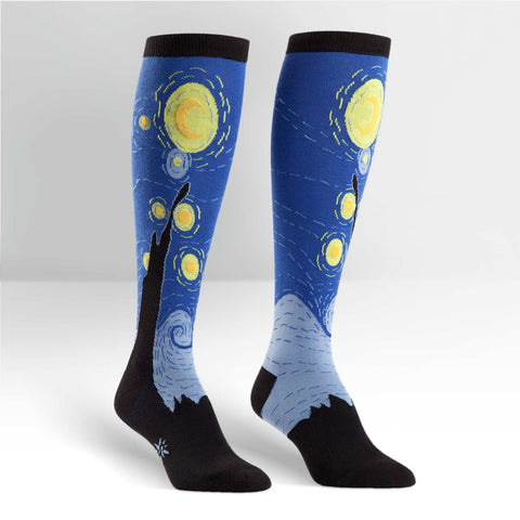 Sock It To Me Women's Funky Knee High Socks - Starry Night